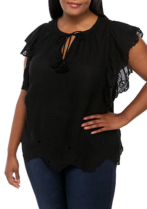 Plus Size Aster Eyelet Tie Front Top