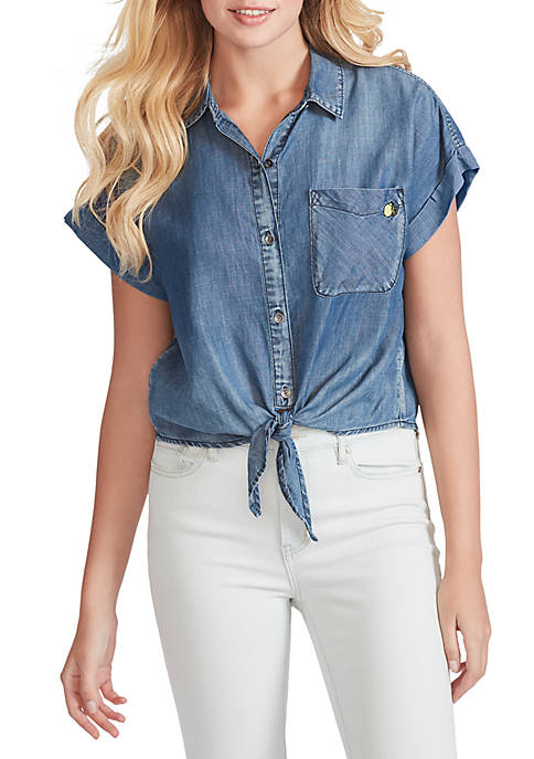 Jessica Simpson Rocky Tie Front Short Sleeve Top