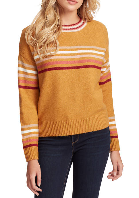 Multi Stripe Crew Neck Sweater