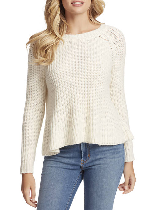 Jessica Simpson Women Aria Flounce Hem Rib Pullover