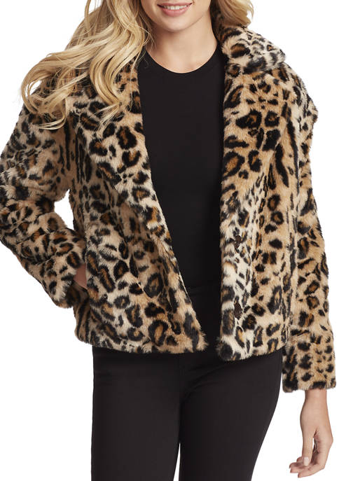 Jessica Simpson Womens Faux Leopard Fur Jacket