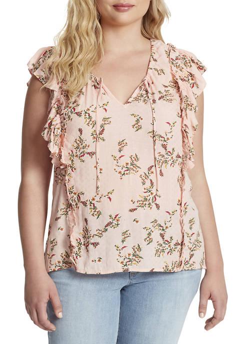 Jessica Simpson Plus Size Zuri Ruffled Peasant Blouse