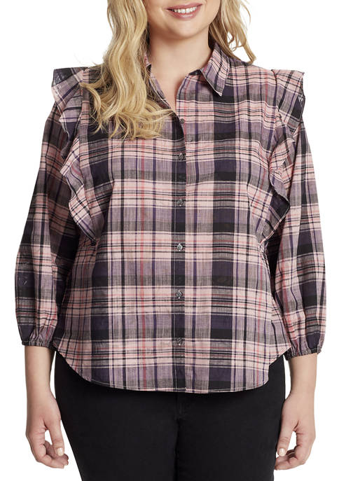Jessica Simpson Plus Size Sadie Ruffle Plaid Shirt