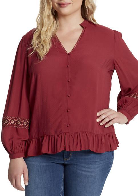 Jessica Simpson Plus Size Arya Embroidered Top