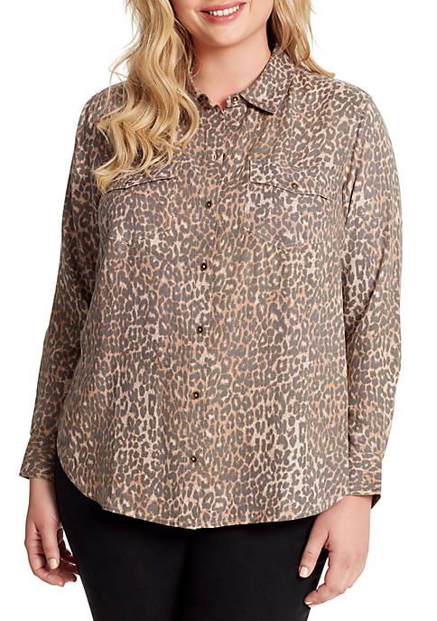 Jessica Simpson Plus Size Petunia Long Sleeve Woven