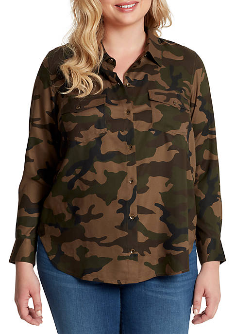 Jessica Simpson Plus Size Petunia Long Sleeve Woven