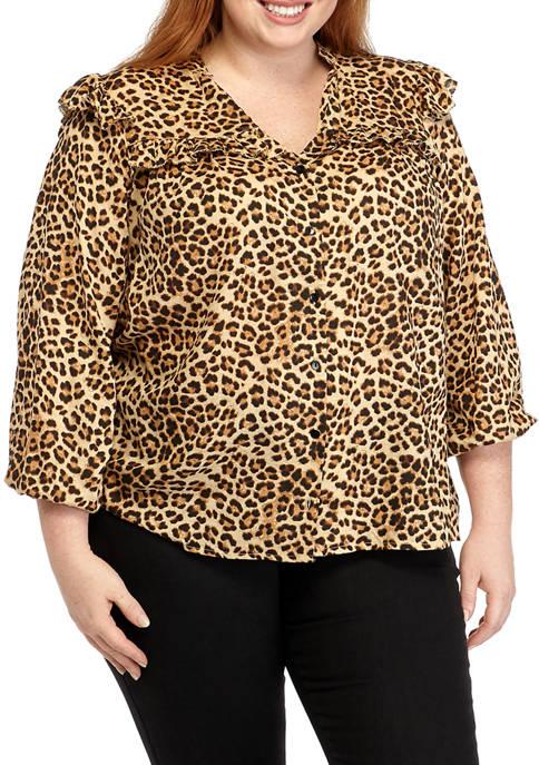 Jessica Simpson Plus Size Ruffle Leopard Print Blouse