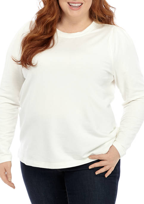 Jessica Simpson Plus Size Puff Crew Neck Shirt