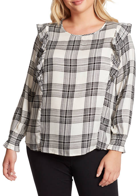 Jessica Simpson Plus Size Gypsy Ruffle Plaid Blouse