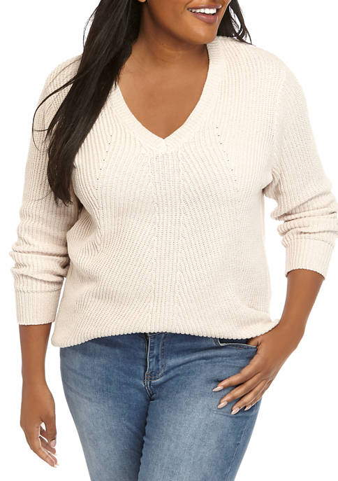 Jessica Simpson Plus Size V Neck Rib Tunic