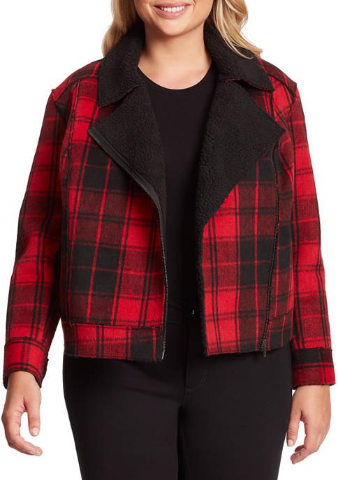 Jessica Simpson Plus Size Fleetwood Plaid Moto jacket