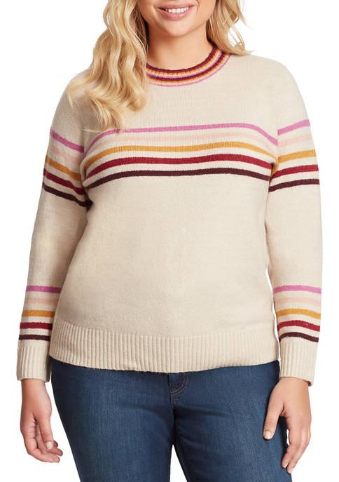 Jessica Simpson Plus Size Rai Multi Stripe Sweater