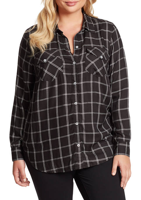 Jessica Simpson Plus Size Petunia Long Sleeve Plaid