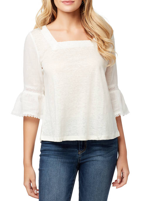 Bell Sleeve Square Neck Top
