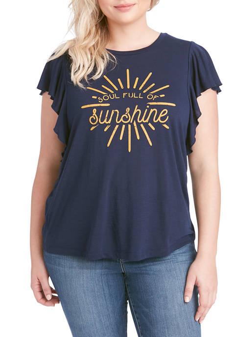 Jessica Simpson Plus Size Yara Ruffle Graphic T-Shirt