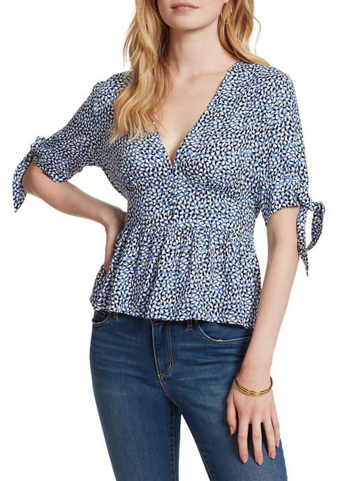 Jessica Simpson Elbow Tie Sleeve V-Neck Printed Woven