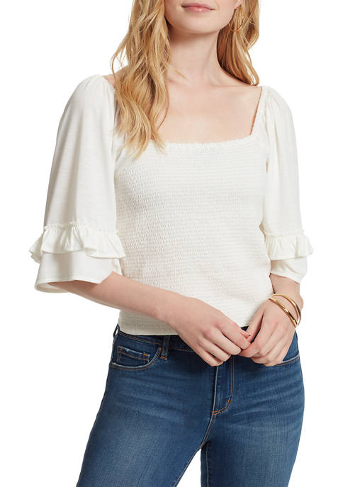 Jessica Simpson Bell Sleeve Square Neck Smocked Top