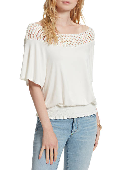 Jessica Simpson Stephan Smocked Knit Top