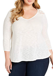 Plus Size Murielle Solid Knit Lace Back Top