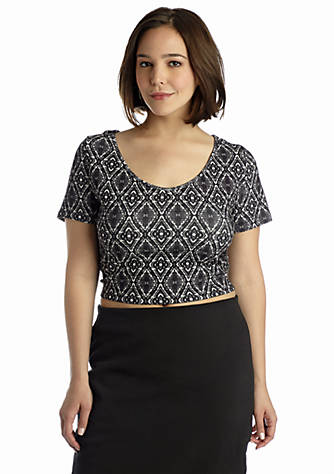 ca843759b Jessica Simpson. Jessica Simpson Plus Size Elizabeth Print Crop Top