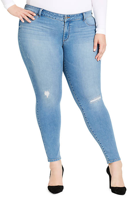 Plus Size Super Skinny Destructed Jean