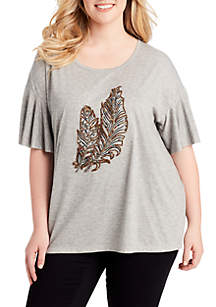 Plus Size Jerilyn Graphic Feathers Tee