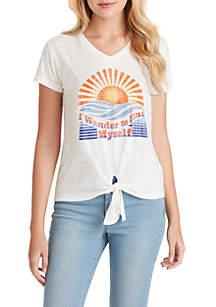Jessica Simpson Maya Tie Front Sunset Wander Graphic T Shirt