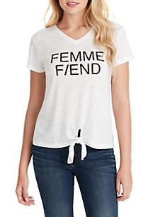 Jessica Simpson Maya Tie Front Femme Fiend Graphic T Shirt
