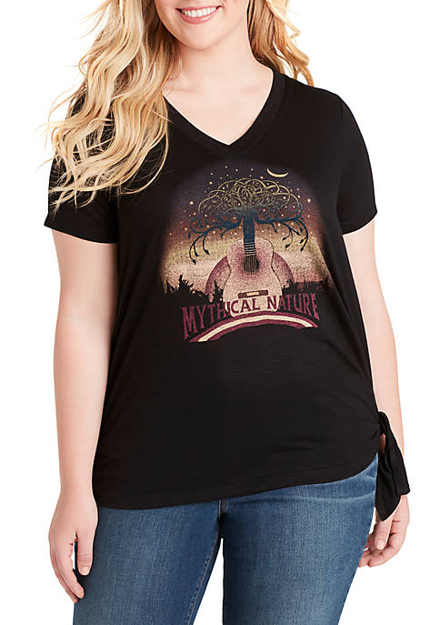 Plus Size Maya Tie Front Graphic Tee