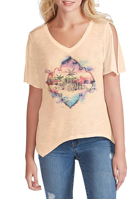 Jessica Simpson Frankie Slit Sleeve Graphic T Shirt