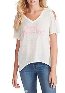 Jessica Simpson Frankie Just Peachy Split Sleeve Graphic Top