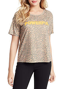 Jessica Simpson Remmi Short Sleeve Powerful Leopard Top