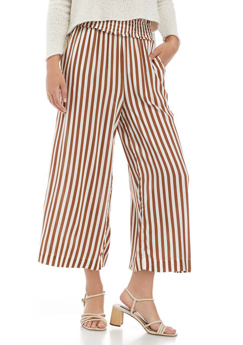 Jessica Simpson Striped Wide Leg Cropped Soft Pants