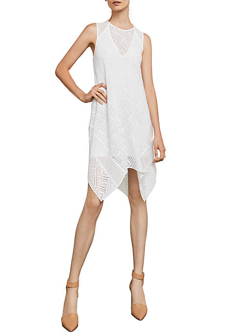 BCBGMAXAZRIA Asymmetrical Geometric Lace A-Line Dress
