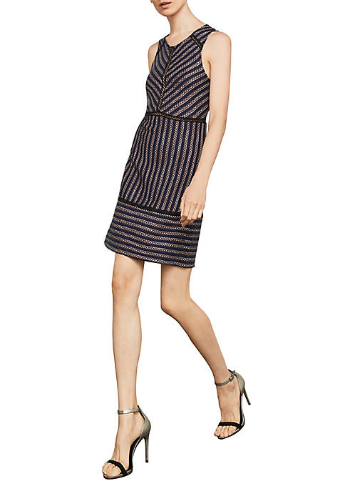 BCBGMAXAZRIA Window Stripe Jacquard Sleeveless Dress