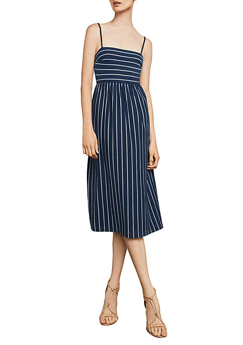 BCBGMAXAZRIA Vintage Stripe Twist-Back Sleeveless Dress