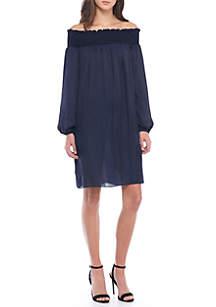 Light Wash Off-Shoulder Dress