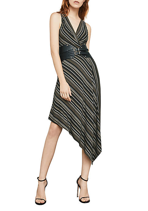 BCBGMAXAZRIA Asymmetrical Hem Stripe Dress