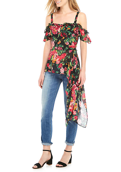 BCBGMAXAZRIA Cold Shoulder Floral Asymmetrical Tunic