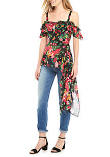 Cold Shoulder Floral Asymmetrical Tunic