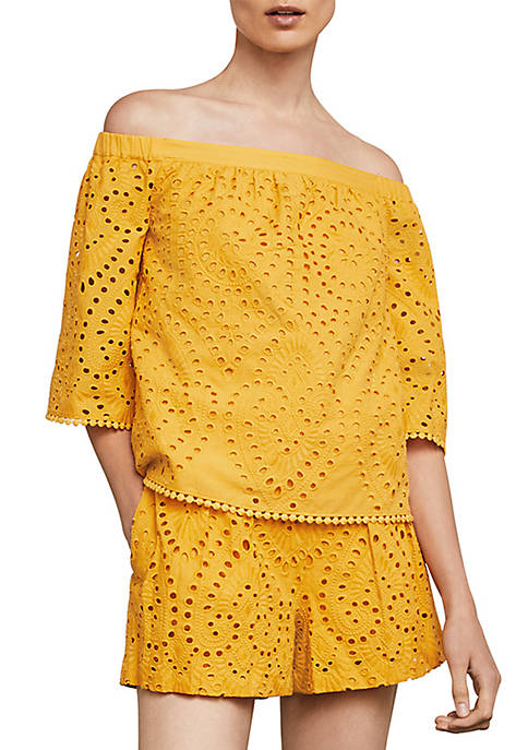 BCBGMAXAZRIA Off-The-Shoulder Embroidered Cotton Eyelet Top