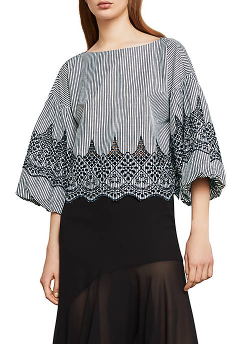 BCBGMAXAZRIA Embroidered Bell Sleeve Cotton Blouse