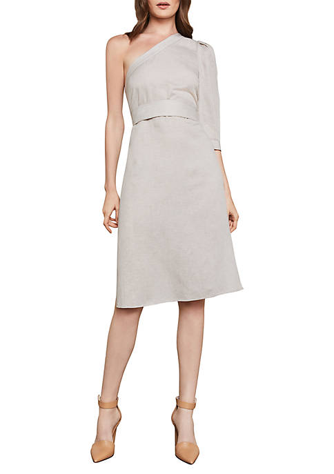 BCBGMAXAZRIA One-Shoulder Stripe Tie Waist Dress