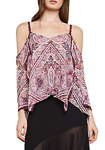 Cold-Shoulder Sleeve Scarf Print Blouse