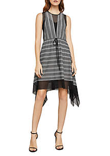Asymmetrical Stripe Mesh Dress