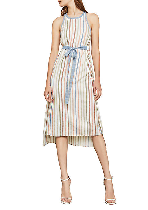 BCBGMAXAZRIA Sleeveless Striped Wrap Midi Dress