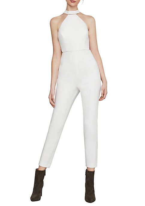 BCBGMAXAZRIA Cropped Beaded Halter Jumpsuit