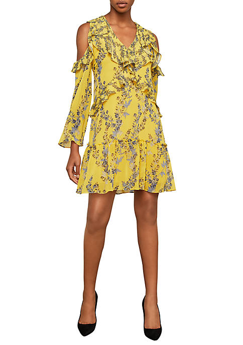 BCBGMAXAZRIA Floral Cutout Shoulder Ruffle Dress