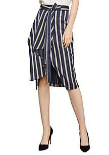 Stripe Twill Wrap Skirt