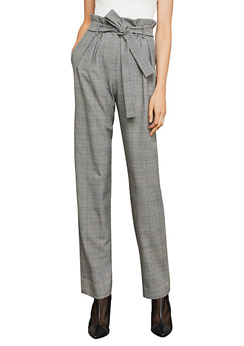 BCBGMAXAZRIA Houndstooth Paper-Bag Pleated Trouser
